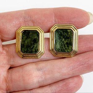 Avon Gold Tone Green  Enamel Earrings Clip On